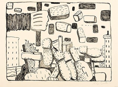 Philip Guston, The Street, 1971. Lithograph on paper, 20 x 26 inches (50.8 x 66 cm). Collection of the Nasher Museum at Duke University. Gift of Mr. and Mrs. Samuel Dorsky, 1973.24.1. (C) The Guston Foundation. Photo by Peter Paul Geoffrion.