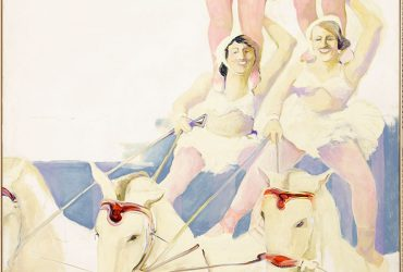 Two female circus performers dressed in white ride three horses. This composition was inspired by a circus flyer. A third and fourth performers' legs can be seen at the top.