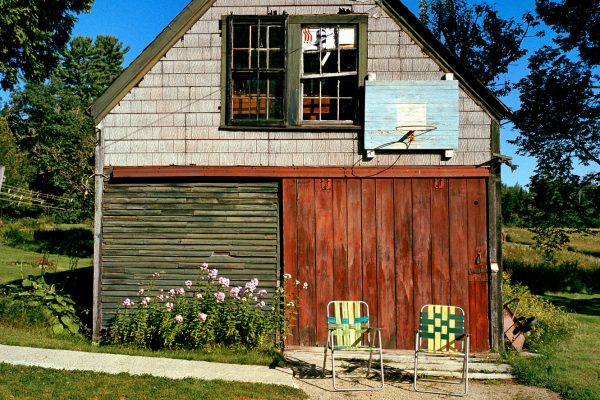Photograph by artist Bill Bamberger of Bill Bamberger, Retired couple's garage in Franklin, Maine in 2006.