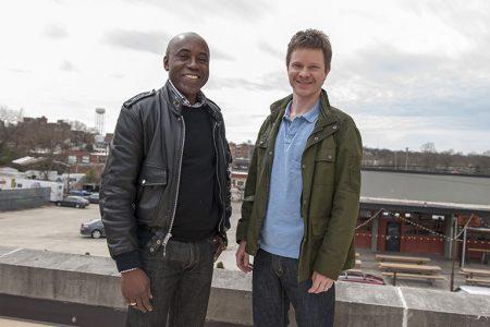 Artist Odili Donald Odita (left) with Chief Curator Trevor Schoonmaker