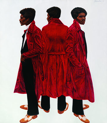 Barkley L. Hendricks, Sir Charles, Alias Willie Harris, 1972. Oil and acrylic on linen canvas, 84 1/8 x 72 inches. Collection of the National Gallery of Art, Washington, DC.; William C. Whitney Foundation. Courtesy of the artist and Jack Shainman Gallery, NY.