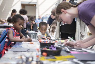 Young visitors make works of art at the Nasher Museum during a Kids Studio event.