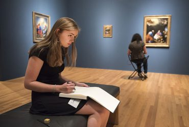 Teen Council Member Emma Livingston sketches in the gallery at the Nasher Museum