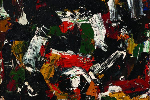 Al Held, Untitled (detail), c. 1957. Oil on canvas, 45 x 44 inches (114.3 x 111.8 cm). Collection of the Nasher Museum. Gift of Dr. and Mrs. Ronald R. Fagin. © Al Held Foundation, Inc. / Artists Rights Society (ARS), New York, New York. Photo by Peter Paul Geoffrion.