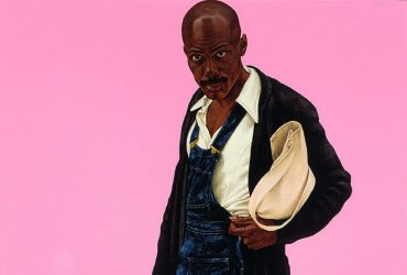 This portrait by Barkley L. Hendricks, Misc. Tyrone (Tyrone Smith), features a male figure carrying a pale satchel against a bubblegum-pink background.