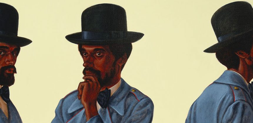 Barkley L. Hendricks painted this triptych, Bahsir (Robert Gowens), in 1975. A male figure is depicted in three standing poses.