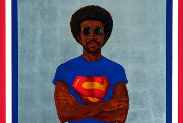 In this portrait by Barkley L. Hendricks, Icon for My Man Superman (Superman never saved any black people— Bobby Seale), a young self-portrait of the artist wears a Superman T-shirt, no pants, against a silver background.
