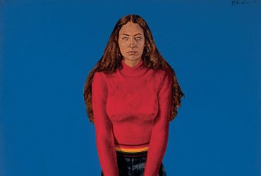 In this portrait, Barkley L. Hendricks, Mayreh (Mary Sheehan), a full-length female figure sits on a stool wearing a red top and jeans against a blue background.
