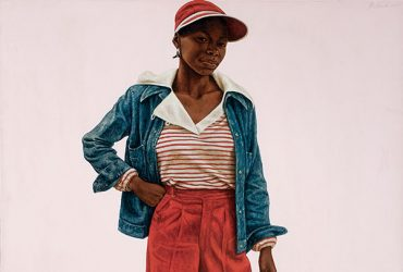 This portrait by Barkley L. Hendricks, Tequila, features a teen-age girl wearing short red pants, hat, jean jacket and a cigarette in her left hand.