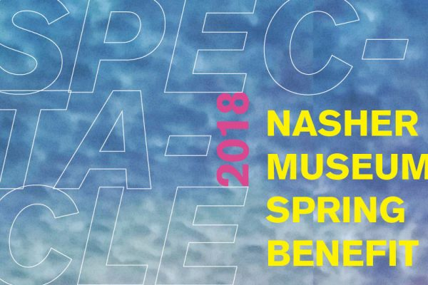 Graphic treatment of the words Spectacle 2018: Nasher Museum Spring Benefit on a mottled blue sky background.