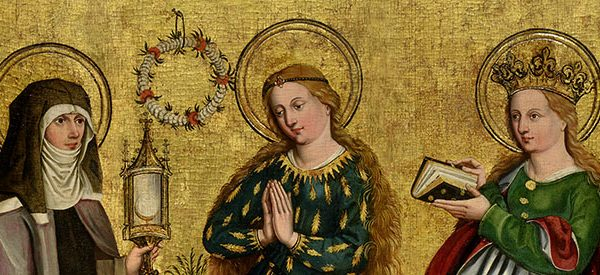 German painting entitled Three Standing Female Saints: Clare, the Virgin Mary and Barbara, dated 1470 – 1480. Three female figures with halos on a gold leaf background.