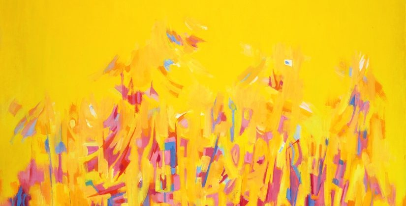 Norman Lewis painted this abstract oil painting of bright pink and blue flowers on a vivid yellow field.