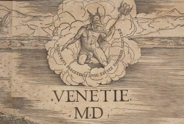 "Detail shows an illustration of the wind in the shape of a king with a trident and the words ""Venetie MD."""