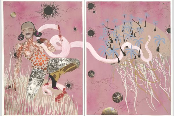 "Wangechi Mutu, Yo Mama. 2003. Ink, mica flakes, pressure-sensitive synthetic polymer sheeting, cut-and-pasted printed paper, painted paper, and synthetic polymer paint on paper, Overall: 59 1/8 x 85"" (150.2 x 215.9 cm). The Judith Rothschild Foundation Contemporary Drawings Collection Gift."