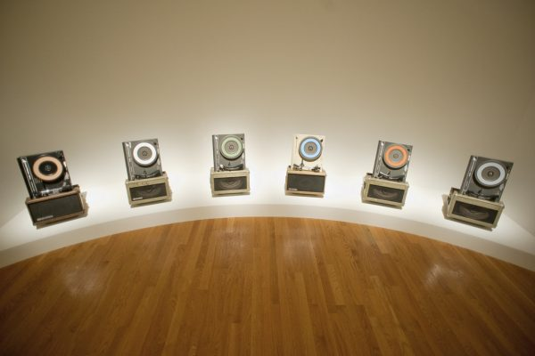"David McConnell, ""Phonosymphonic Sun,"" 2008-09. Acrylic on phonographs with 6-channel sound, dimensions variable. 