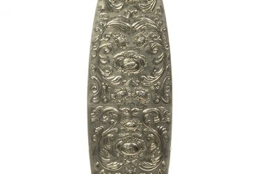 Dario Escobar, Untitled (surfboard), 2001. Silver, plastic, 75 ¼ x 19 inches. Collection of the Nasher Museum. Purchase, Nasher Museum of Art at Duke University Fund for Acquisitions.