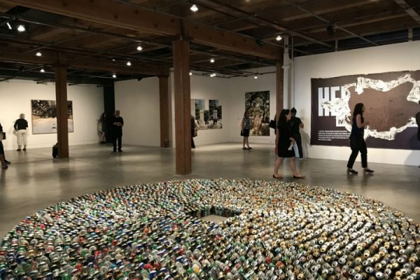 "Kader Attia, Halam Tawaaf, 2008, Installation view, ""2987 beer cans."""