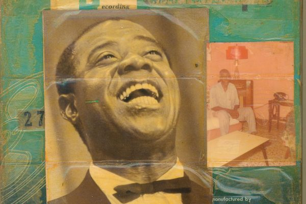 Louis Armstrong Gems from Buenos, c. 1960 7 ¼ x 7 ¼ inches Reel-to-reel tape box collage containing photographs and Scotch tape Image courtesy of the Louis Armstrong House Museum, Queens, New York