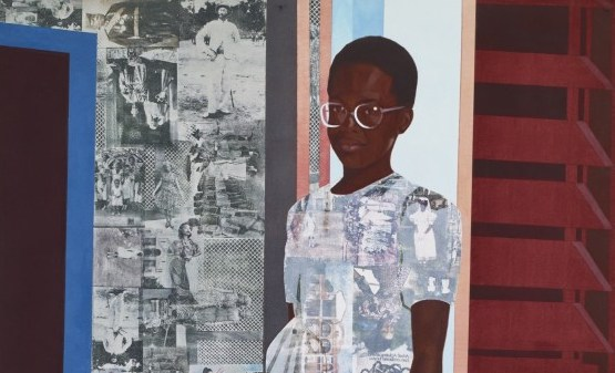 Njideka Akunyili Crosby, The Beautyful Ones Series #1c, 2014; acrylic, color pencils and transfers on paper 61 by 42 inches. Image courtesy the artist and Victoria Miro, London