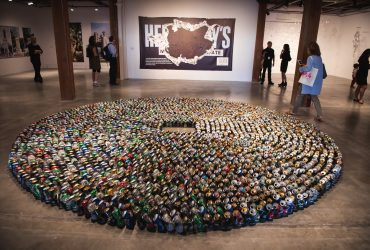 "P.4 artist Kader Attia created this sculpture, ""Halam Tawaaf,"" with 2,978 folded beer cans, meant to evoke Muslims in prayer. It is on view at the Contemporary Arts Center. Photo by J Caldwell."