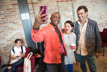 P.4 artist Hank Willis Thomas takes a selfie with P.4 artists Hông-Ân Tru'o'ng and Jeff Whetstone. Photo by J Caldwell.