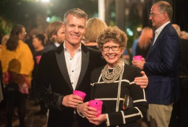 Board of Advisors member Derek Wilson (T'86, B'90) enjoys the P.4 Swamp Galaxy Gala with Nasher Museum Director Sarah Schroth. Photo by J Caldwell.