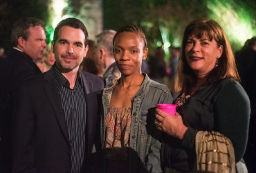 P.4 artist Dario Robleto (left) with friends at the P.4 Swamp Galaxy Gala. Photo by J Caldwell.