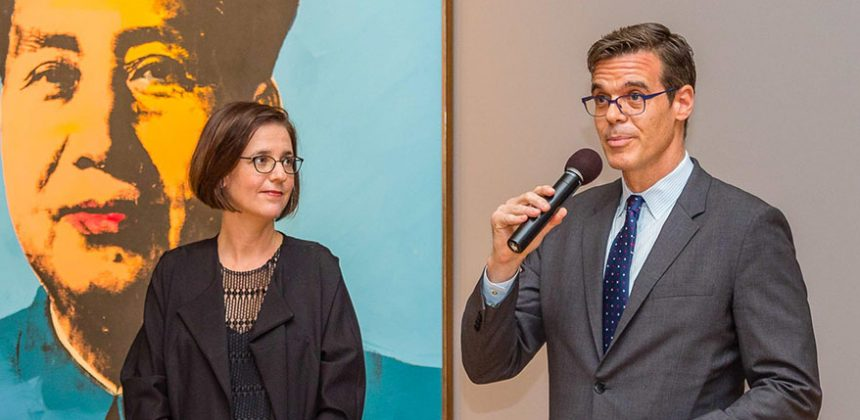 Duke Professor Esther Gabara (left), curator of Pop América, 1965 – 1975, and Richard Aste, director of the McNay Art Museum, accepted the Sotheby's Prize at an awards ceremony in New York City. Pop América opens in October 2018 in San Antonio, Texas, at the McNay Art Museum, which co-organized the exhibition. Photo courtesy of Sotheby's and Harrison Epstein/HIE Photography.