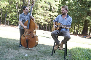 Ben Chace and Paul Defiglia play at the listening party for artist Xaviera Simmons; their song is on her vinyl record, part of her commissioned work in The Record. Photo by J Caldwell.