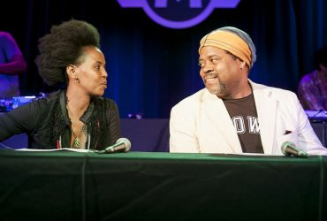 Artist Wangechi Mutu with music critic Greg Tate take part in a panel discussion at Motorco Music Hall. Photo by J Caldwell.