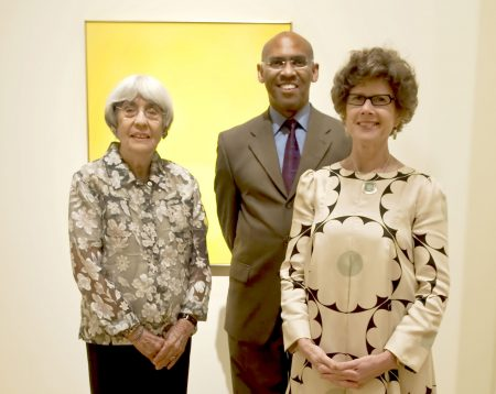 Dorothy Fisher (left), wife of the late Felrath Hines, with Richard J. Powell, Duke's John Spencer Bassett Professor of Art and Art History, and Sarah Schroth, Nancy Hanks Senior Curator. Photo by J Caldwell.