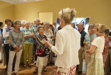 Bridget Booher gives a gallery talk about Doris Duke. Photo by J Caldwell.