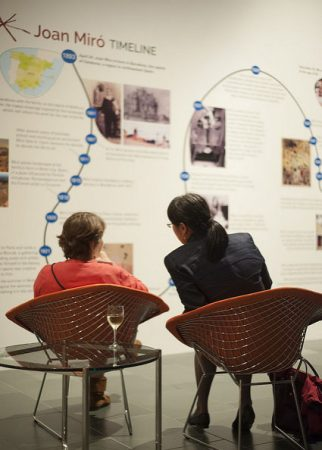 Visitors enjoy the timeline of Miró's career highlights. Photo by J Caldwell.