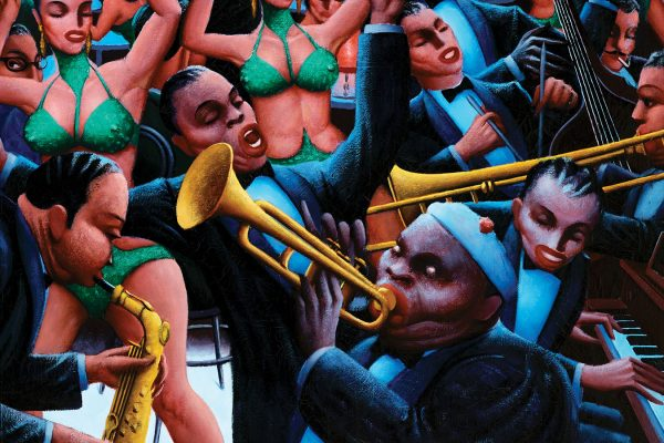 Archibald J. Motley, Jr., Hot Rhythm (detail), 1961. Oil on canvas. Gift of Mara Motley, M.D., and Valerie Gerrard Browne in honor of Professor Richard J. Powell and C.T. Woods-Powell and in memory of Archie Motley. © Nasher Museum. Photo by Peter Paul Geoffrion.