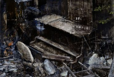 An oil painting focuses on the contents of an abandoned shed in Durham County, including an old piano.