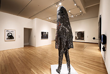 Installation view of All Matterings of Mind, with a sculpture by Nick Cave in the foreground. Photo by Peter Paul Geoffrion.