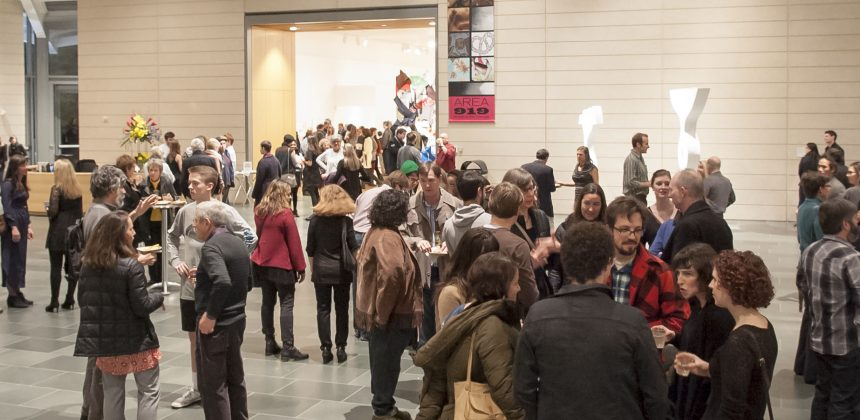 More than 800 visitors throng the Nasher Museum Great Hall for the opening of Area 919. Photo by J Caldwell.