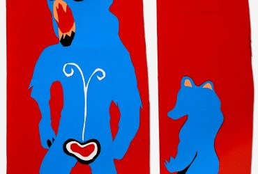 Prints of a big bear and a smaller bear on red background.