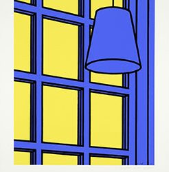 Patrick Joseph Caulfield began making screenprints in 1964, enamored with the reproducibility of precise images with rich colors and clear lines. As representations of inanimate every-day objects, Caulfield's early prints belong to the still-life tradition in art. Whereas historical still-life depictions showed an interest in texture, detail, and decadence, Caulfield's works—informed by Pop Art and popular imagery—emphasize bare-boned simplicity. He takes a focused shot of a normal scene and reduces elements to their most essential parts. Objects are flattened and sharp, outlined in comic-book-like black lines, and situated in even fields of bright colors. This series depicts three versions of a hanging light and window or door pane, each presented in two hues suggesting the changing time of day.