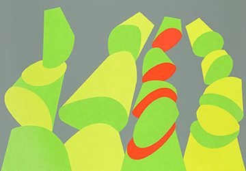 Four abstracted shapes are reminiscent of sushi rolls. The artists chose lime green, spring green and orange on a gray background.