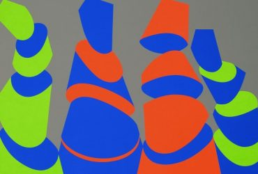 Four abstracted shapes are reminiscent of sushi rolls. The artists chose lime green, orange and blue on a gray background.
