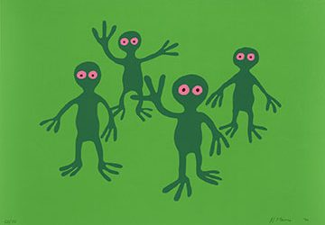 Four green figures with pink donut-shaped eyes stand on a lighter green field. One figure raises one hand; another figure raises both hands.