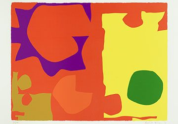 "Within this print, the colored disks, ovals, and other irregular shapes collide, move through, and erupt from each other, creating a continuous conversation between forms. No one area of the image dominates; the complete visual experience lies within the whole of its disparate parts. This abstract print is an example of Heron's larger artistic practice and illustrate his belief that ""colour is both the subject and the means, the form and the content, the image and the meaning…"""