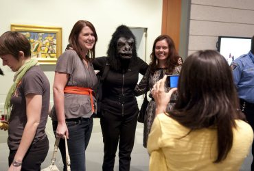 The Guerrilla Girls mingle with visitors after delivering the Annual Rothschild Lecture. Photo by J Caldwell.