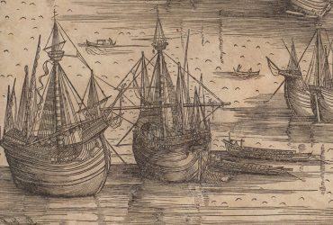 A detail of Jacopo de' Barbari's famous woodcut map of Venice shows an aerial view of ships on the canal.