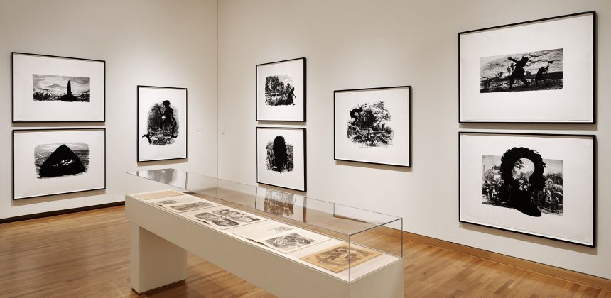 Installation view of Kara Walker: Harper's Pictorial History of the Civil War (Annotated), as part of The Collection Galleries. Photo by Peter Paul Geoffrion.
