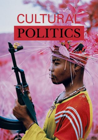 Cultural Politics journal cover featuring a still from Richard Mosse's The Enclave