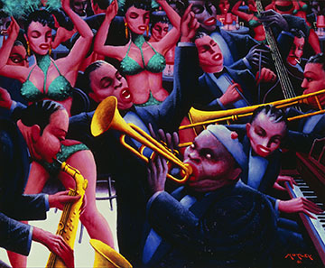 Archibald J. Motley, Jr., Hot Rhythm, 1961. Oil on canvas, 39 7/8 × 48 1/4 × 7/8 inches (101.3 × 122.6 × 2.2 cm). Collection of the Nasher Museum. Gift of Mara Motley, M.D., and Valerie Gerrard Browne in honor of Professor Richard J. Powell and C.T. Woods-Powell and in memory of Archie Motley; 2016.24.1. Image courtesy of the Chicago History Museum, Chicago, Illinois. © Nasher Museum of Art at Duke University.