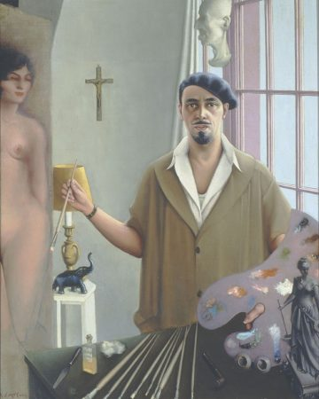Archibald J. Motley Jr., Self-Portrait (Myself at Work), 1933. Oil on canvas, 57.125 x 45.25 inches (145.1 x 114.9 cm). Collection of Mara Motley, MD, and Valerie Gerrard Browne. Image courtesy of the Chicago History Museum, Chicago, Illinois. © Valerie Gerrard Browne.