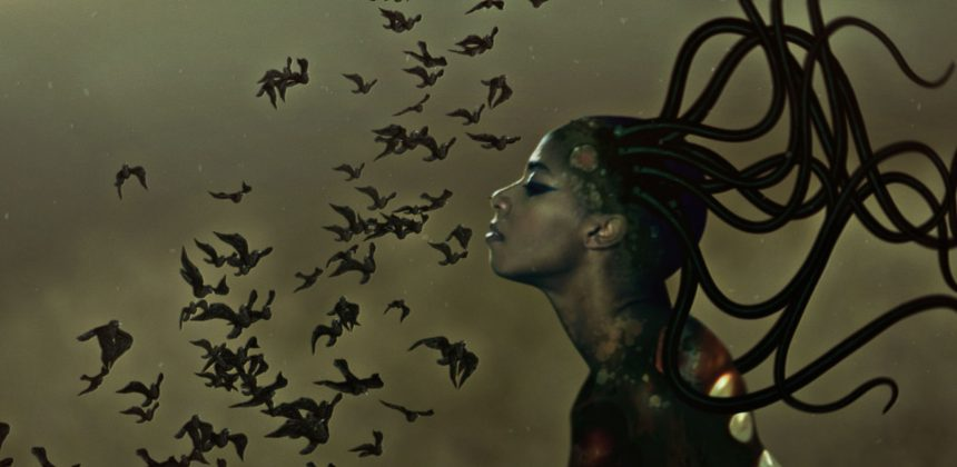 Wangechi Mutu, The end of eating Everything (still), 2013. Animated video (color, sound), 8:00 minutes 8:00 minute, 6 + 2 AP Video. Museum purchase. Commissioned by the Nasher Museum of Art at Duke University.